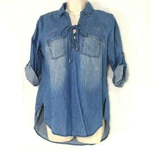 My Michelle Denim Chambray Tunic Top Lace Up